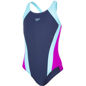speedo Contrast Panel Splashback Swimsuit Jenter navy/turquoise/diva